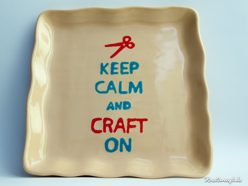 "Bemalte Keramikschale ""Keep calm and craft on"""