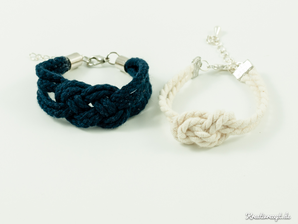 einfache Seemannsknoten-Armbänder aus Kordeln