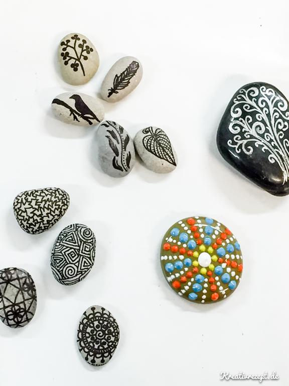 Bemalte Steine mit Markern von einer Kursteilnehmerin
