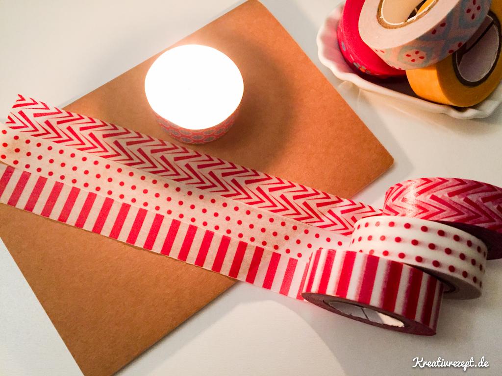 Notizbuch und Teelicht mit Washi Tapes