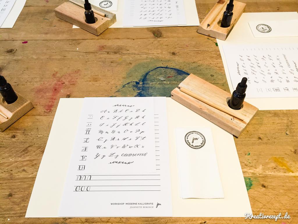 Unser Übungsplatz beim Kalligrafie-Workshop mit Jeannette Mokosch